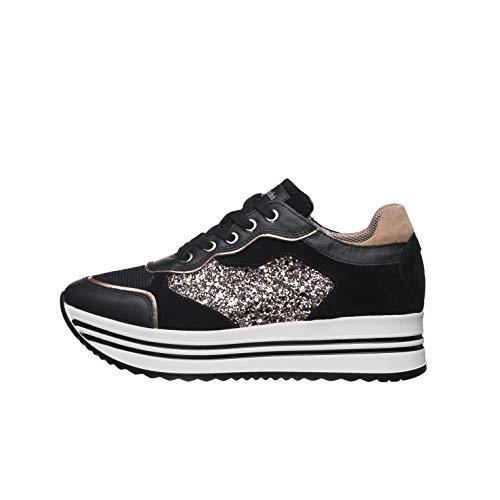 Nero Giardini E010569D Sneakers Femme en Cuir, Cuir Velours Et Toile - Noir 39 EU