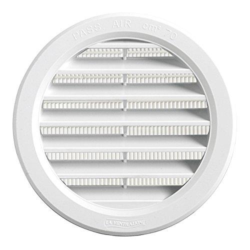 La Ventilazione T10RB T10RB-Y Griglia Plastica Tonda da Incasso, Bianco, 120 mm, ø