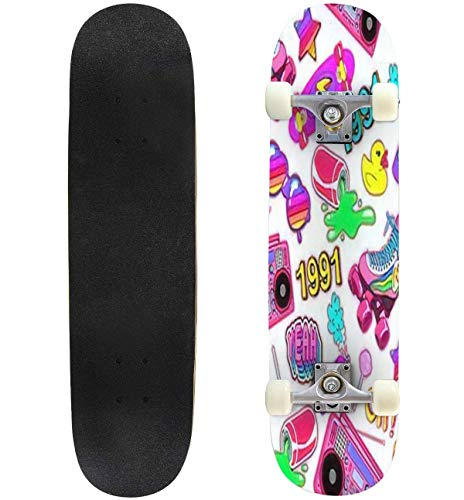 Classic Concave Skateboard Seamless Pattern with Colorful Elements from The Nineties Background Longboard Maple Deck Extreme Sports and Outdoors Double Kick Trick for Beginners and Professionals