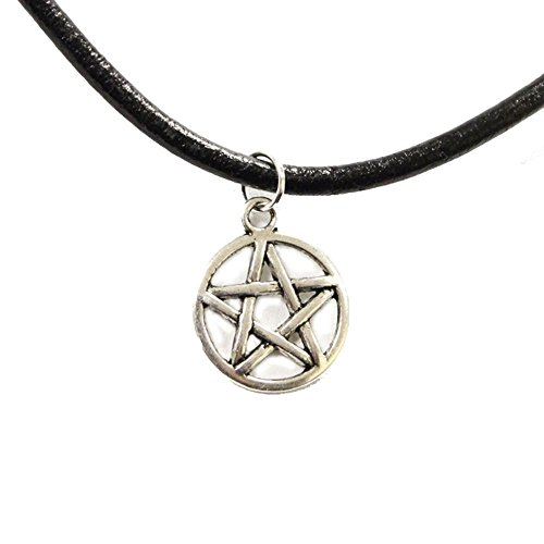 Live It Style It TrendsMe Auténtico Cordón Cuero Negro Gargantilla + Plata Tibetana Colgante Charm [Pentagrama Estrella]