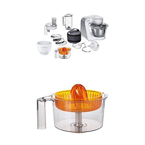 Bosch MUM58243 Küchenmaschine CreationLine, 1000 W, 3,9 l Edelstahl-Rührschüssel, 3D Rührsystem, 7 Schaltstufen, weiß/silber +  MUZ5ZP1 Zitruspresse transparent mit orangem Presskegel