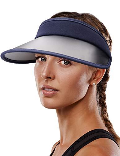 Maylisacc Sombrero para el Sol ala Ancha Mujer, Sombrero para el Sol con Cola de Caballo Ajustable, Sombrero de Visera Verano para Golf Protección UV, Azul Oscuro