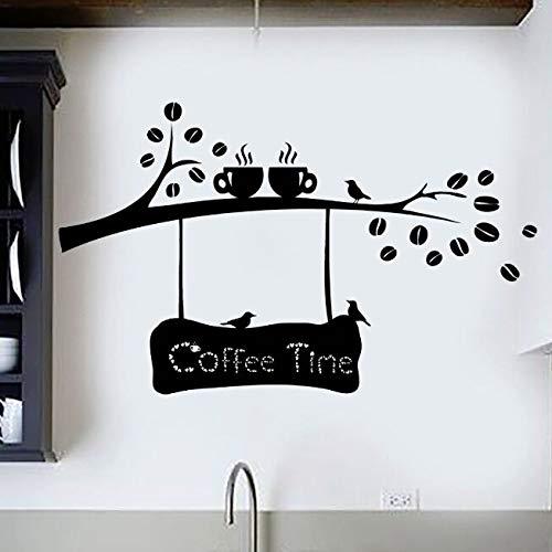 Vinyl muur sticker koffie bonen tak muur sticker koffie tijd muur muurschildering koffiekopje vogel café deur en raamdecoratie 57x35cm