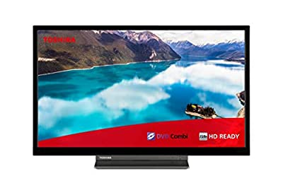 Toshiba 24WD3A63DB 24-Inch HD Ready Smart TV with Freeview Play and Built In DVD Player - Black/Silver (2019 Model) by Toshiba