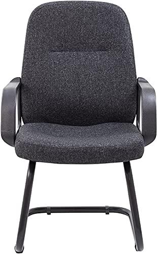 24x7 Silla de escritorio sin ruedas, silla de oficina ejecutiva, silla de computadora para el hogar, silla de oficina pequeña, malla, negro
