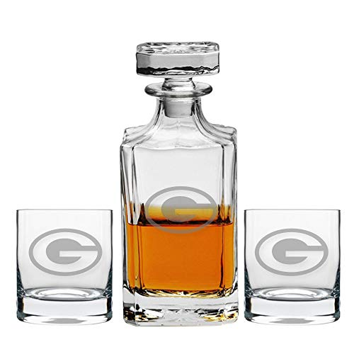 Party Posh Designs Football Fanatic Green Bay Packers Engraved Decanter and Whiskey Rocks Glasses, Set of 3