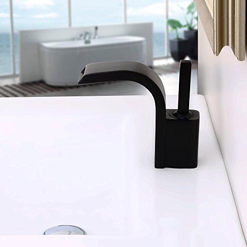 Lovedima Modern Single Joystick Handle Single Hole Solid Brass Waterfall Spout Bathroom Sink Faucet (Black)