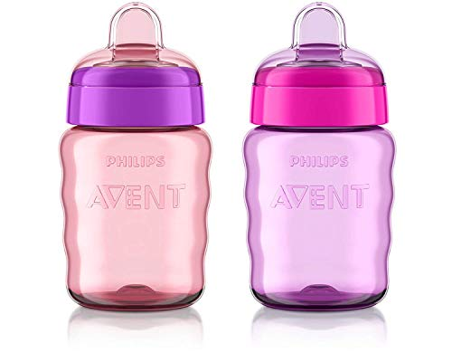 Philips Avent My Easy Sippy Cup with Soft Spout and Spill-Proof Design, Pink/Purple, 9ounce, 2 Pack