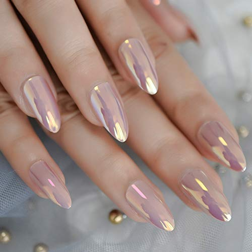 Medium Shiny Artificial MistyRose Full Cover Nail Art Tips Almond Elegant Duo Chrome Sexy Soild Simple Fake Nail