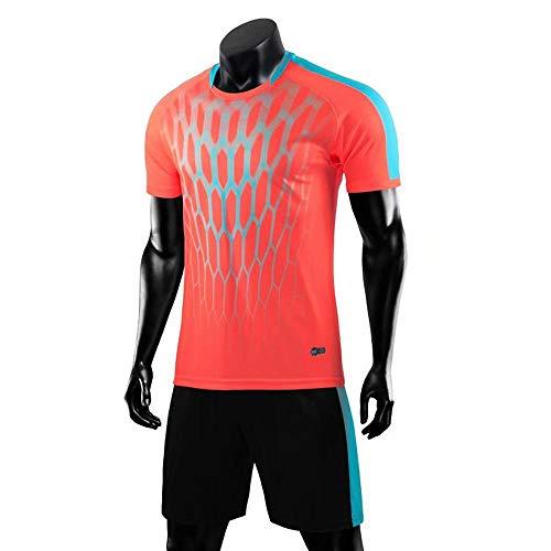 QKJD Fußballuniform Kurzärmelige Fußballuniform für Herrenanzüge für Erwachsene Pink-XL