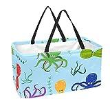 Bolsas reutilizables para comestibles, cesta de la compra, 50 l, con soporte para columna, bolsa de almacenamiento de pulpo y algas marinas