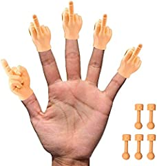 5x Tiny Hands Middle Finger Finger Puppets - Right Hands Only + 5X Bonus Holding Sticks! Funny gag gift for music festivals, birthday parties, bar nights, viral videos, stress reliever. Fits on your finger to tell your friends how you feel. Middle Fi...