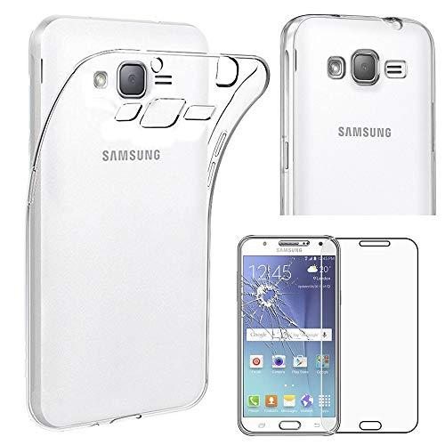 ebestStar - kompatibel mit Samsung Galaxy J5 Hülle SM-J500F (2015) Handyhülle [Ultra Dünn], Klar Flex Silikon Schutzhülle, Transparent +Panzerglas Schutzfolie [Phone: 142.1x71.8x7.9mm 5.0