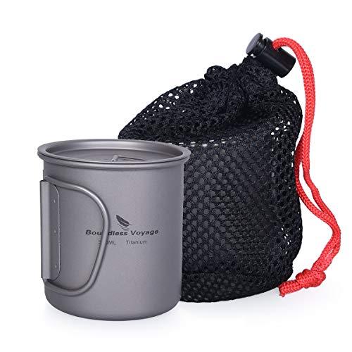 iBasingo Titan Tasse Camping Hängetopf mit Deckel Klappgriff Spork Outdoor Ultraleichter Tee Kaffee Wasserbecher Picknick Kochgeschirr 300ml Ti15141I