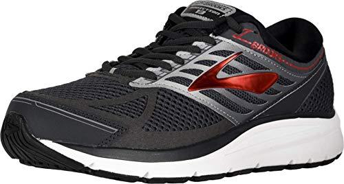 Brooks Men Addiction 13 Running Shoes, Ebony/Black/Red, 10 D US