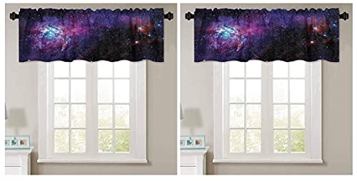 Aishare Store Short Straight Drape Valance, Starry Night Nebula Cloud in Galaxy Celestial Theme Image Space Decorations Print, 1 Panel 42' W x 18' L Curtain Valance Window Treatment for Living Room(2)