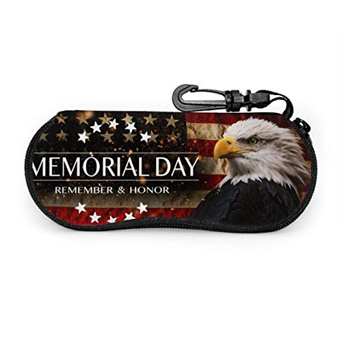 Sunglasses Case Memorial Day American Flag Bald Eagle Sunglasses Soft Case Ultra Light Neoprene Zipper Eyeglass Case With Belt Clip