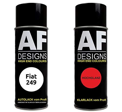 Autolack Spraydose Set für FIAT 249 Bianco Banchisa Basislack Klarlack Sprühdose 400ml