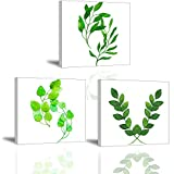 PIY PAINTING Cuadro En Lienzo de Hoja Verde, 3 Piezas Artística Imagen de...