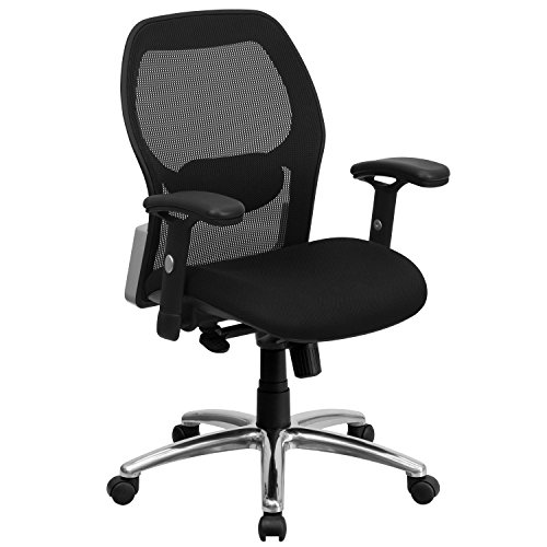Flash Furniture Mid-Back Black Super Mesh Executive Swivel Office Chair with Knee Tilt Control and Adjustable Lumbar & Arms
