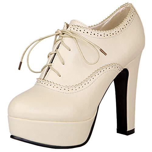 BeiaMina Mujer Cordones Zapatos De La Corte Plataforma