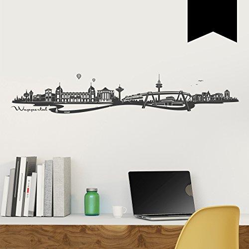 WANDKINGS Wandtattoo Skyline Wuppertal (mit Sehenswürdigkeiten und Wahrzeichen der Stadt) 185 x 32 cm schwarz - erhältlich in 33 Farben