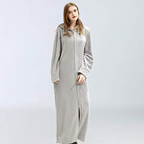 Pyjama Damen Nachthemd Schlafanzug Damen Und Herren Kapuze Nachthemd Flanell Bademantel Reißverschluss Einteilige Hauskleidung Warme Pyjama Nachtwäsche Robe Herbst Winter XL LightGray