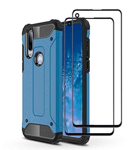NOKOER Hülle für Motorola Moto One Action, [ 2 in 1] Staubdicht Anti-Fall Handyhülle + 2 Stück panzerglas, Shock Absorption Doppelschicht Hülle, Ultra Slim rutschfest Cover - Blau