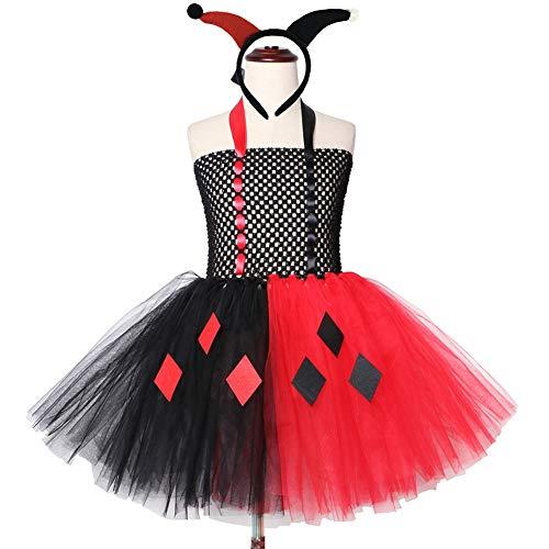 Halloween Harley Quinn Tutu jurk voor meisjes verjaardag party handgemaakte kind-jurk met hoofdband en masker meisje Villain jurk