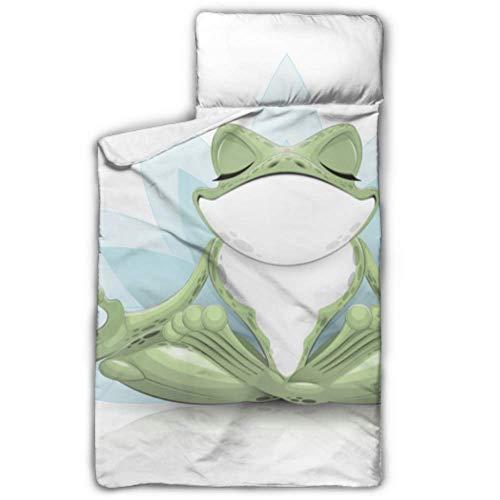 Divertente Tree Frog Meditazione Yoga Frog Childs Nap Nap Mat per la scuola Pieghevole Nap Mat per bambini con coperta e cuscino Design arrotolabile Ottimo per asilo nido in età prescolare Sleepover