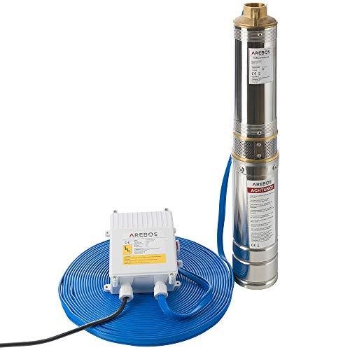 AREBOS Pompa per pozzi profondi | Pompa sommersa | Elettropompa 4'' | Acciaio inossidabile | Pompa da pozzo 4.000 - 9.000 L/H di portata (0,37KW 4000L/H)