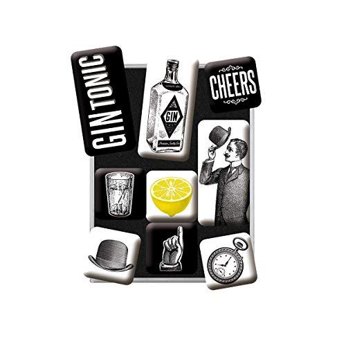 Nostalgic-Art, Juego de Imanes Retro , Gin & Tonic – Idea de Regalo como Accesorio de Bar, Decoración para la Nevera, Diseño Vintage, 9 Unidades
