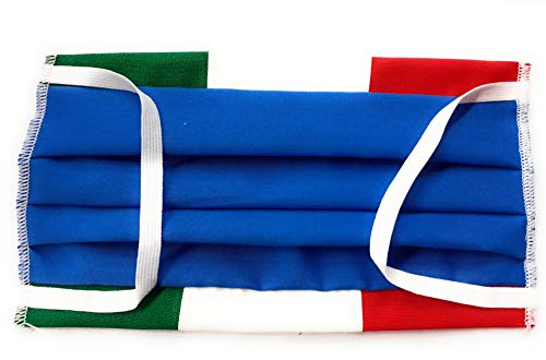 MASCHERINA ITALIA AZZURRA CON BORDO TRICOLORE IN COTONE LAVABILE MADE IN ITALY