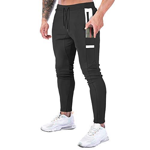 MECH-ENG Tapered Running Jogger Pants for Men Tack Slim Fit Sweatpants with Phone Pockets(#150 Black Medium)
