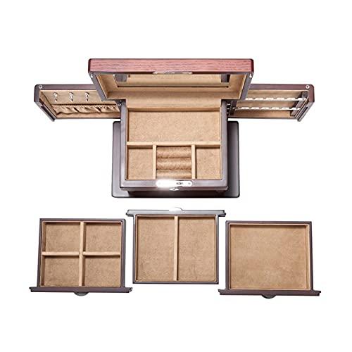 DFQX Organizador de Caja de joyería de Madera con Espejo y Bloqueo 3 cajones deslizantes 2 Tapas Laterales para Pendientes y Collares