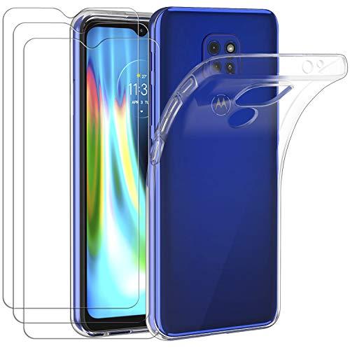 ivoler Funda para Motorola Moto E7 Plus/Moto G9 Play/Moto G9 + 3 Unidades Cristal Templado, Transparente TPU Silicona Anti-Choque Anti-arañazos Carcasa Caso y Vidrio Templado Protector de Pantalla