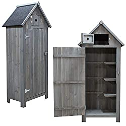 Spacious Storage Shed for Garden Tools and Accessories 3 Shelves for Easy Organising Top Space for Small Accessories Easy Open and Close Doors with Latches Felted Apex Roof. Raised Slatted Floor