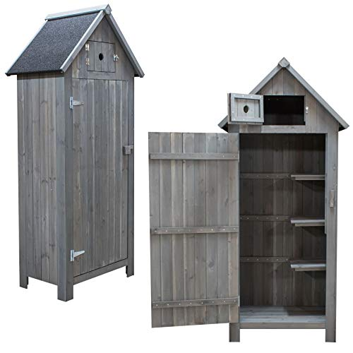 KCT Apex Garden Storage Cupboard Shed in Grey Wood Stain