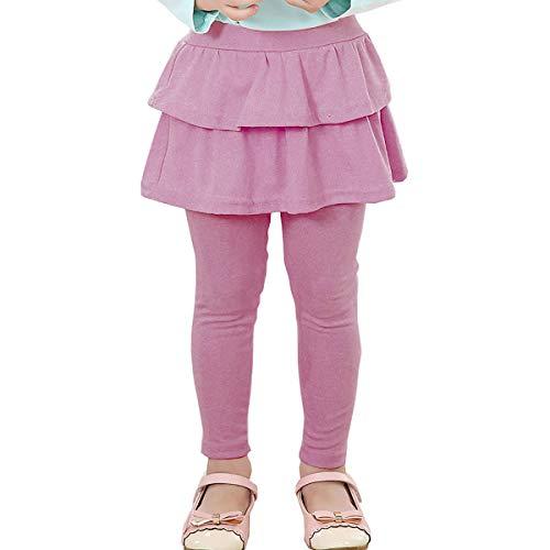 RieKet Girls Toddler Leggings with Skirt Kids Tutu Skirt Leggings Pants Tights (3-4T, Lavender)