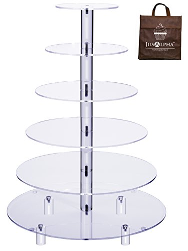 Jusalpha Large 6-Tier Acrylic Glass Round Wedding Cake Stand- Cupcake Stand Tower/Dessert Stand- Pastry Serving Platter- Food Display Stand (Large With Rod Feet) (6RF)