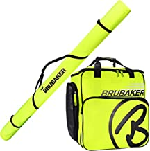 BRUBAKER Combo Set XC Touring Champion - Cross-Country Ski Bag and Ski Boot Bag for 1 Pair of Skis + Poles + Boots + Helmet -Neon Yellow/Black - 82 3/4 Inches / 210 cm