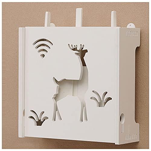Mini Caja de Almacenamiento de Enrutador Inalámbrico Caja de Almacenamiento WiFi Blanca Caja de Almacenamiento de Enrutador Wi-Fi Transpirable Adecuado para la Decoración del Hogar 24 * 8,5 * 20 cm