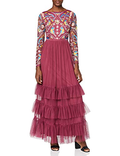 Frock and Frill Long Sleeve Embroidered Maxi Dress with Ruffle Skirt Vestito da Cocktail, Bacca, 42 Donna