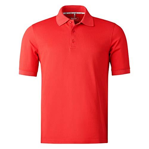 agon Herren Pique Polo-Shirt - Kurzarm-Hemd für Männer mit Knopfleiste, bügelfrei und atmungsaktiv, für Sport und Business, Made in EU Rot 54/XL