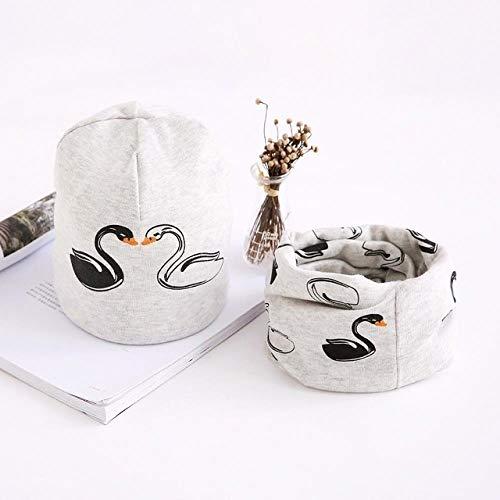 XCLWL Beanie dames muts baby muts sjaal set zwan patroon katoen hoed sjaal voor baby's en jongens winter kinderen meisjes hoeden 3 maanden tot 8 jaar grijs 3-8 jaar