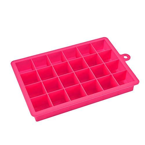 CTOBB 24 Cube Ice Cube Trays Platz Silikon-EIS-Würfel-Form-EIS-Behälter-Freezer Easy Release Ice Jelly Pudding Hersteller-Form-Bar-Küche-Werkzeug, Rosen-Rot