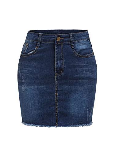 SheIn Women's Basic Stretchy Mini Short Bodycon Denim Skirt Navy