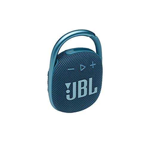 JBL Clip 4 Altavoz inalámbrico con Bluetooth, resistente al agua IP67 y al polvo, con estilo llamativo y diseño ultraportátil, 10h de música continua, azul