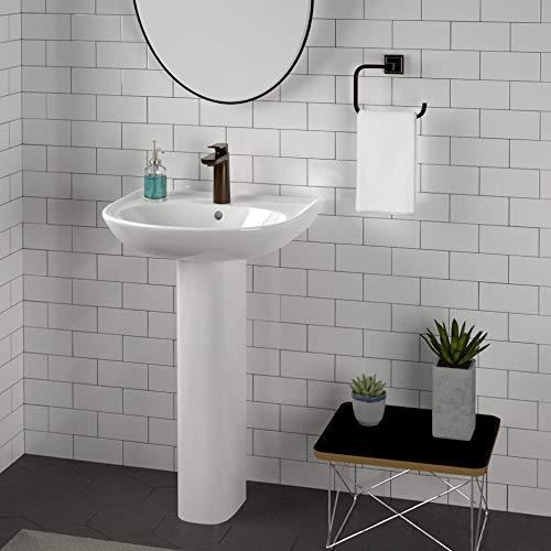 Magnus Home Products Grafton 100 Vitreous China Pedestal Bathroom Sink, Single-Hole, 20 1/2