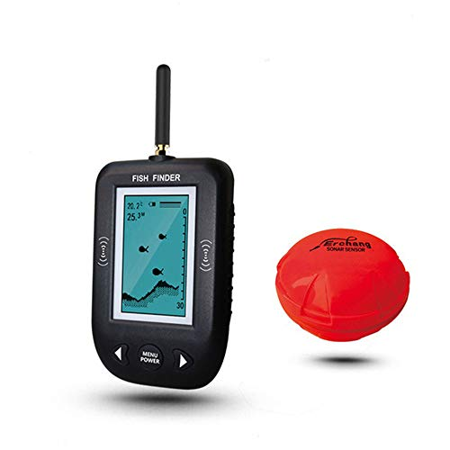 JMFHCD Fish Finder, Portable Fishfinder with Wireless Sonar Sensor And Handheld LCD Display Monitor, Showing Depth, Water Temperature, Fish Size, Fish Location,Blackandwhitedisplay